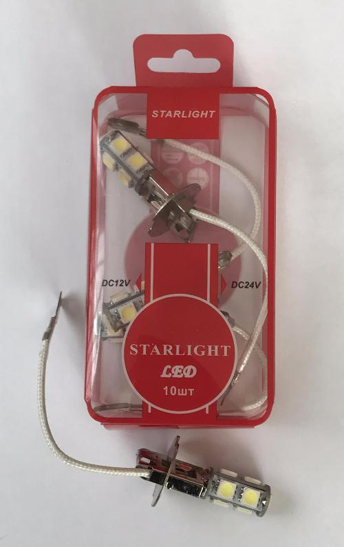 H3 24V 9SMD Pk22s WHITE  Star Light